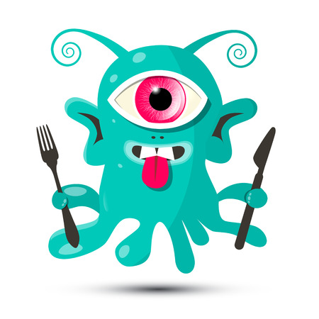 cute alien: Alien - Monster or Bacillus Vector Illustration with Fork and Knife Isolated on White Background Illustration
