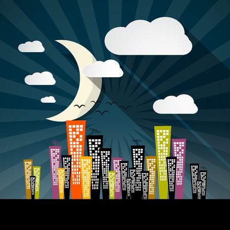 Vector Night City Illustration with Skyscrapers and Moon Vector