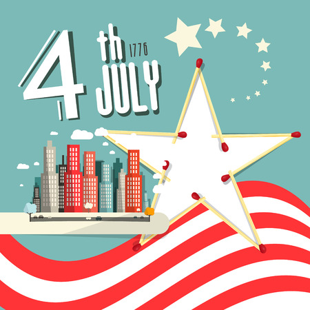 th: Vector 4 th July Title with American Flag - Independence Day Retro Flat Design Illustration Illustration