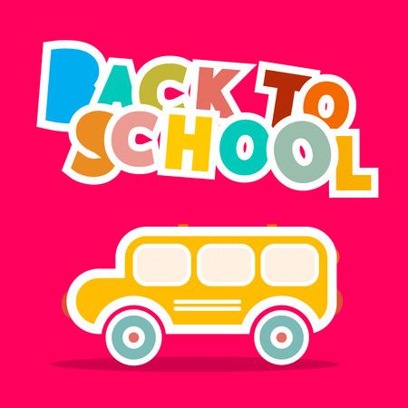 cartoon orange: Back to School Bus - Paper Vector Illustration on Pink Background