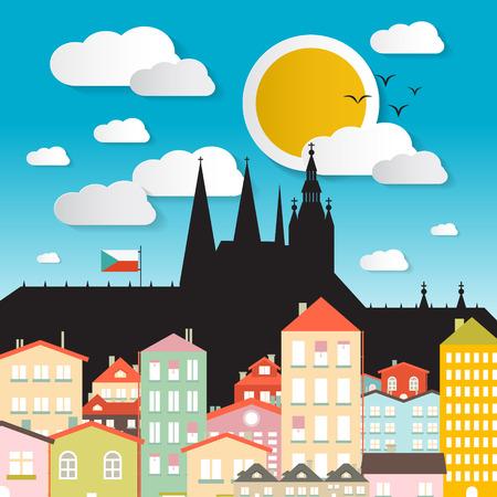 vitus: Flat Design Vector Prague Castle Illustration - The Cathedral of St Vitus - Czech Republic in Europe