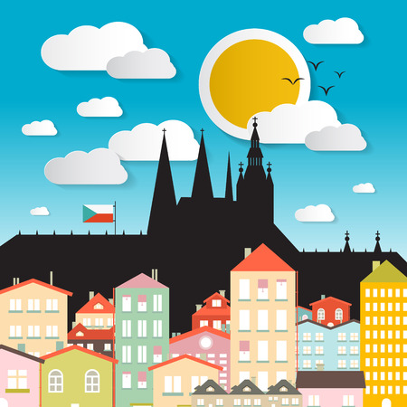 Flat Design Vector Prague Castle Illustration - The Cathedral of St Vitus - Czech Republic in Europe