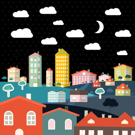 clouds scape: Abstract Vector Night Flat Design City Illustration