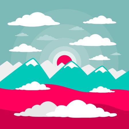 Mountains Vector Flat Design Illustration Vector
