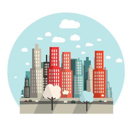 cars on road: Flat Design City Vector Illustration Illustration