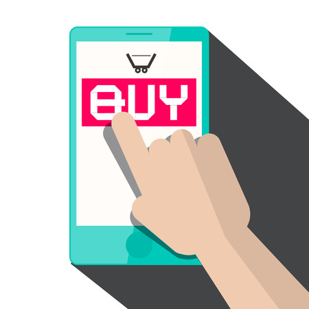 touching: Flat Design Vector Hand Touching Smart Phone with Buy Title and Cart Icon