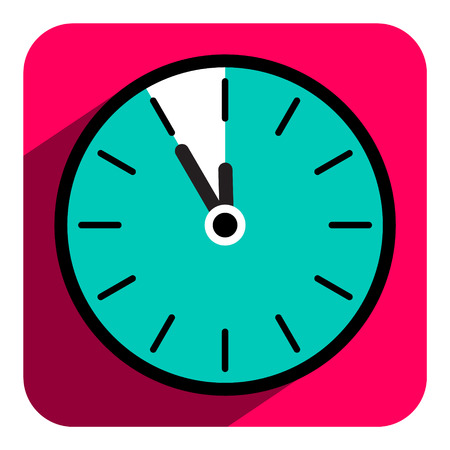 old watch: Flat Design Vector Retro Clock Icon with Five to Twelve Time Illustration