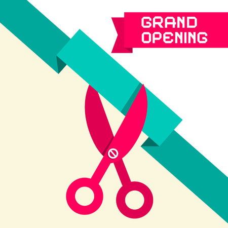 open: Grand Opening Retro Flat Design Vector Illustration with Scissors and Paper Ribbon