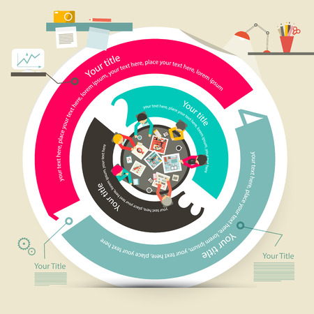 Vector Four Steps Circle Infographics with Top View Table with Business People