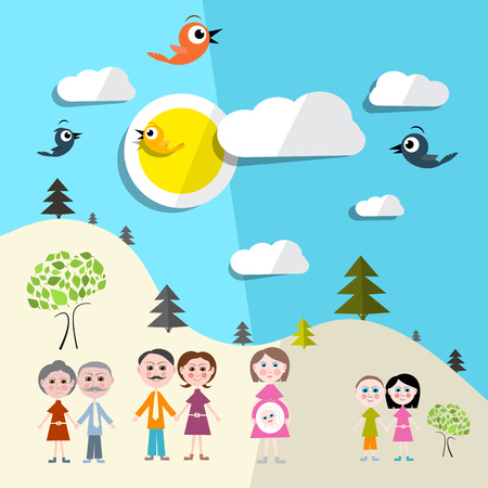 tree with birds: Family in Nature - Landscape Vector Illustration