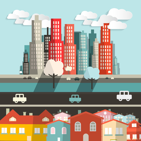 highway: Vector City - Houses with Highway and Skyscrapers Illustration