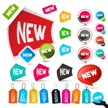 nowy: Nowe etykiety zestaw samodzielnie na białym tle