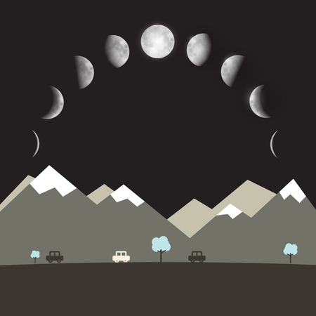 phases: Abstract Vector Flat Design Night Landscape with Moon Phases