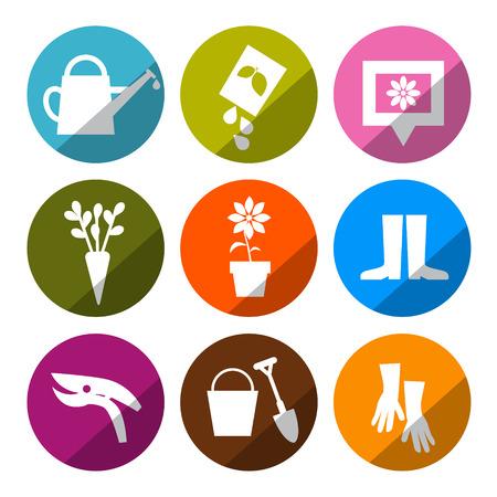 bag of soil: Vector Gardening Icons - Tools Set Illustration