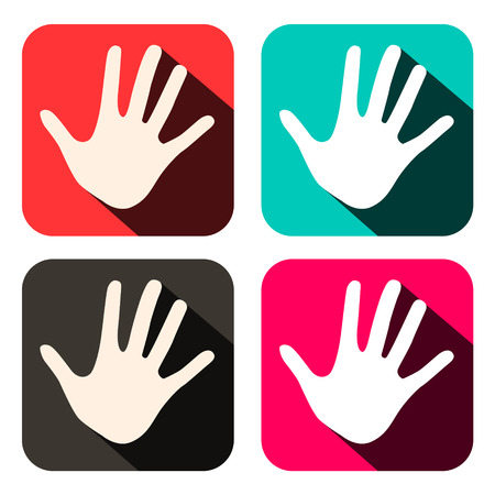 stop hand silhouette: Vector Palm Hands Icons in Rounded Squares Set