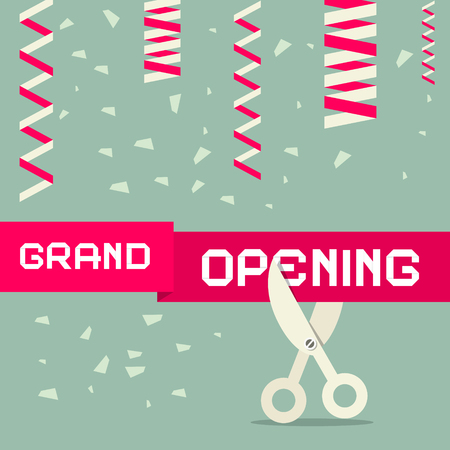 Flat Design Grand Opening Vector Illustration with Confetti and Scissors