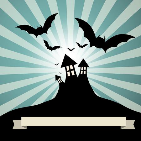 haunted: Spooky Castle with Bats - Retro Vector Template