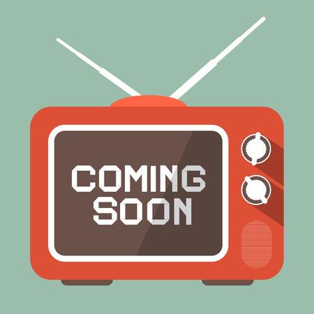 Diseño plano Próximamente vectorial Título en la pantalla de TV Retro Foto de archivo - 45275740