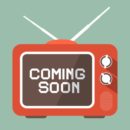 flat screen tv: Flat Design Coming Soon Vector Title on Retro TV Screen