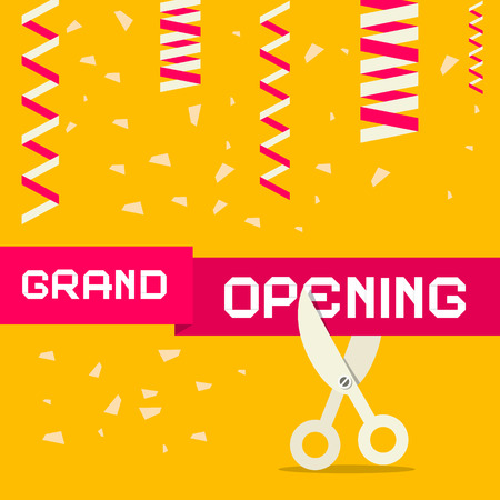 introducing: Retro Grand Opening Vector Illustration with Confetti and Scissors on Yellow Background