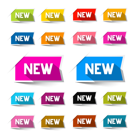 New Colorful Vector Paper Labels - Stickers Set Isolated on White Background Çizim