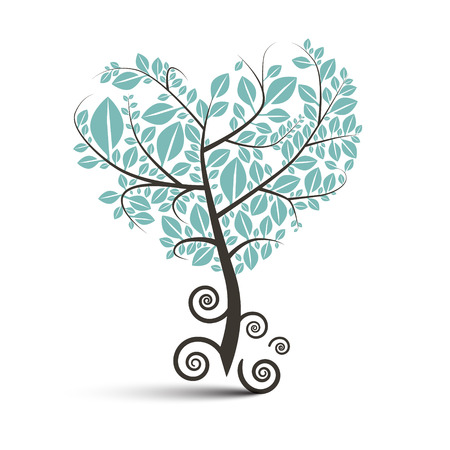 Heart Shaped Tree with Curled Roots Vector Illustration Isolated on White Vektorové ilustrace