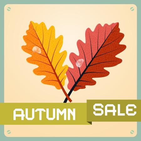 oak leaves: Retro Autumn Sale Background With Oak Leaves