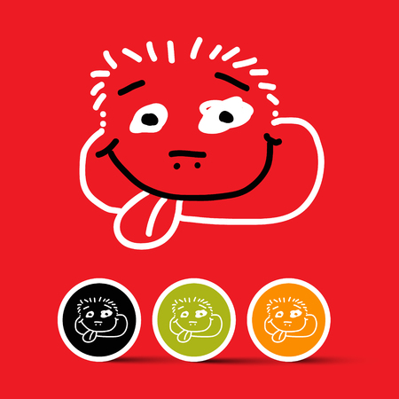 smily: Funny Face with Sticked out Tongue Vector Illustration on Red Background