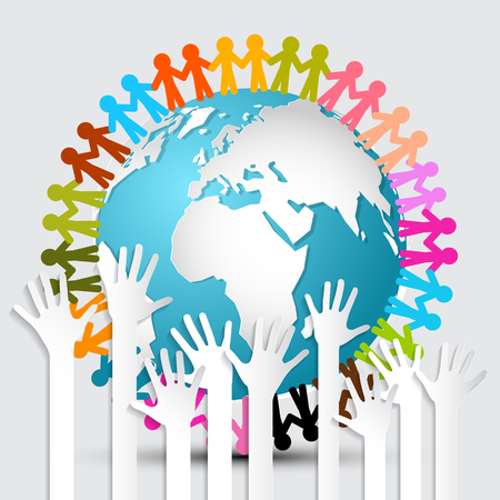 voting hands: Voting Hands - Paper Cut Palm Hands Set Vector Illustration and People Holding Hands Around Globe - Earth Vector