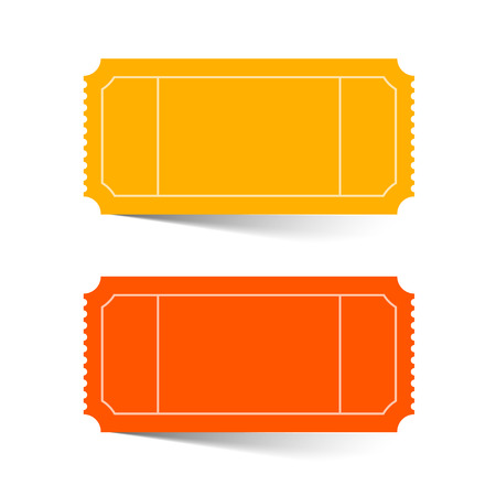 cinema ticket: Tickets Set - Red and Orange Vector Illustration Isolated on White