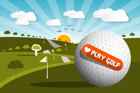 golf field: Golf Ball on Field with Sun and Sky and Love Play Golf Title - Vector Illustration