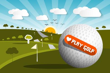 golf  ball: Pelota de golf en campo con el sol y el cielo y el Amor Golf del juego Título - Vector Vectores