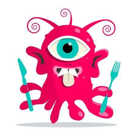 bacillus: Alien - Monster or Bacillus Vector Illustration with Fork and Knife