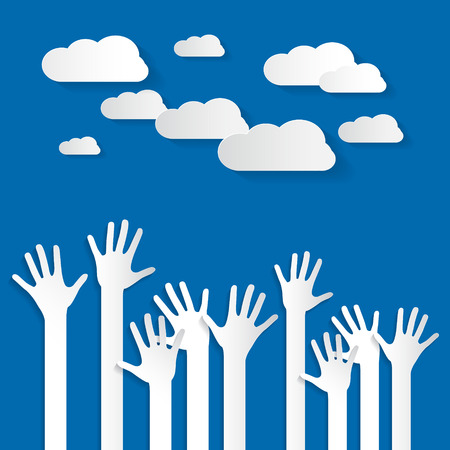 raised: Hands - Paper Cut Palm Hands Set Vector Illustration on Blue Sky Background with Clouds Illustration