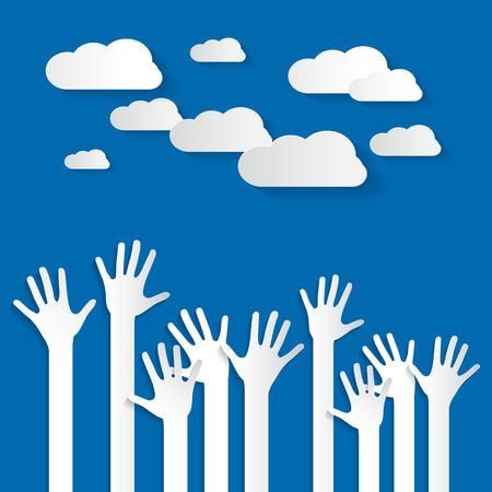 manos levantadas: Manos - Ilustraci�n del corte del papel de Palm Manos Vector determinado en el fondo del cielo azul con nubes