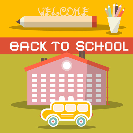 student travel: Back to School Title with Yellow Bus - School Building and Pencils - Vector Flat Design Illustration