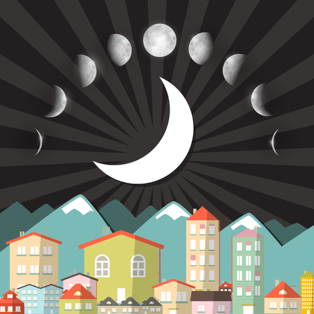 moon phases: Moon Phases Sky above Night City