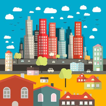 City - Town - Vector Easy Flat Design Illustration with Houses  - Buildings and Street with Cars