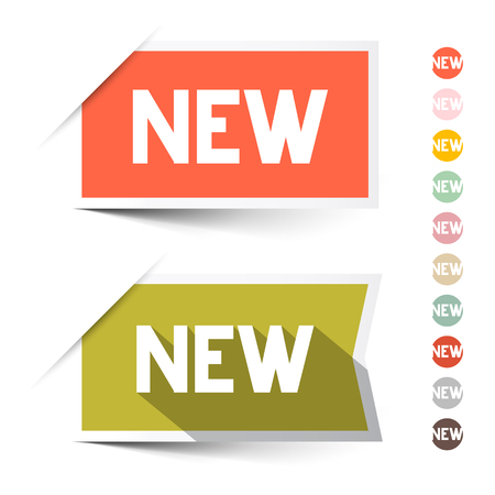 New Retro Paper Vector Labels - Stickers Set Isolated on White