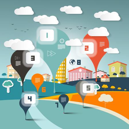comunidad: Vector Infografía Diseño de Paisaje Municipio en Flat Diseño Estilo retro Ilustración