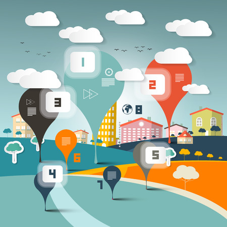 web elements: Vector Infographics Layout on Landscape Town or City in Flat Design Retro Style Illustration