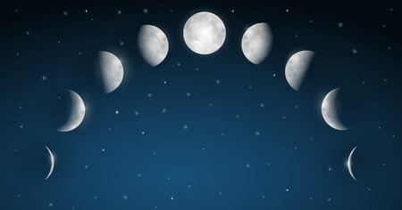 phases: Moon Phases Vector Illustration