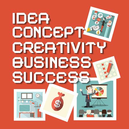 creativity concept: Idea Business Creativity Concept Success Titles with Flat Design Illustrations Illustration