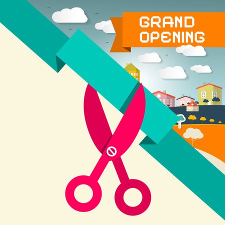 cutting: Grand Opening Title with Scissors and Town