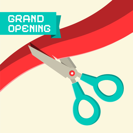 open: Grand Opening Vector with Scissors and Ribbon