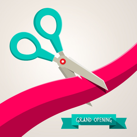 Grand Opening Banner. Retro Flat Design Vector Illustration with Scissors and Ribbon.