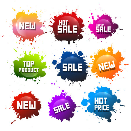 orange splash: Colorful Vector Splashes Set. Blots with New Title. Hot Sale and Hot Price - Top Product Stickers - Icons.