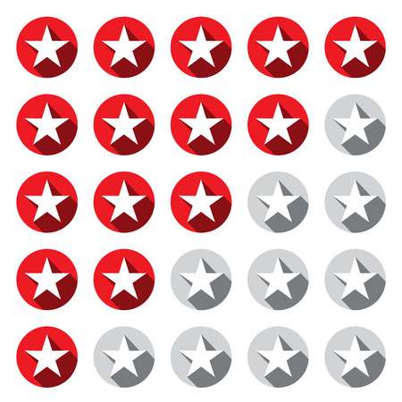silver star: Stars Rating Symbols Set. Vector Red and Grey - Silver Star Icon in Circles. Flat Design Illustration. Illustration