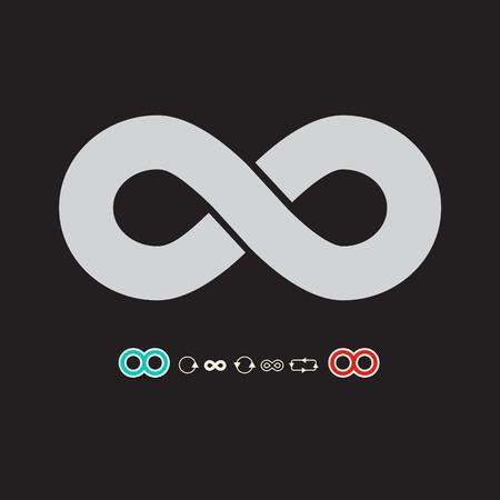 infinity symbol: Infinity Symbol Set on Dark Background Vector