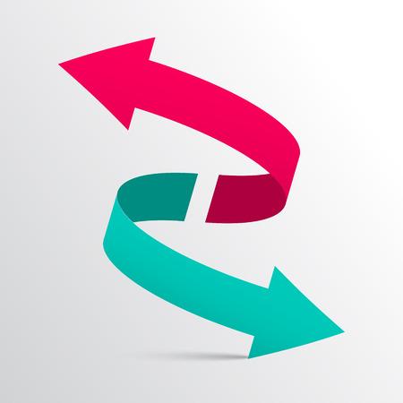 flecha: Doble flecha del vector 3D Logotipo Símbolo